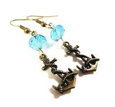 Anchor Charm Earrings Bronze Earrings Aqua by BusyBeeBeadedJewelry, $4.95