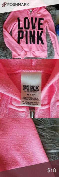 VS PINK Zip Up Hoodie I have worn this only a couple of times and there is a stain on the left sleeve. PINK Victoria's Secret Other
