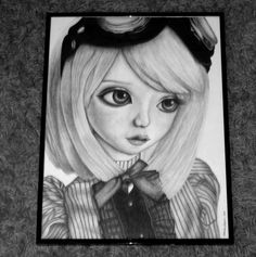 Portrait jeune fille Steampunk (dessin crayon/mine de plomb) // Steampunk girl portrait http://crealoutre-deco.over-blog.fr
