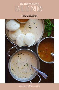 Spicy South Indian style Peanut chutney served as an accompaniment with idli's and dosas
