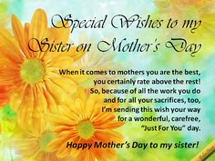 For sister in law mothers day printable cards mothers day a mothers day ecard with special wishes to your sister see all my ecards at 123greetingsprofilebebestarr they are free to send and fun to m4hsunfo