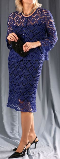Ultramarine Silk Crochet suit