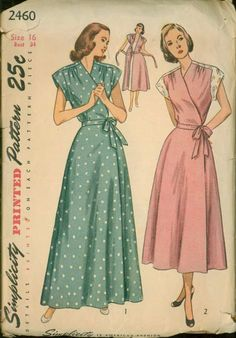Simplicity 2460 Maternity Wrap Around Housecoat and house Dress. The bodice gathered at the upper front edge, is styled with extended shoulders cut in one with the yoke. Vintage Dress Patterns, Vintage Dresses, Vintage Outfits, 1940s Fashion, Vintage Fashion, Frock For Women, Wrap Around Dress, Apron Dress, House Dress