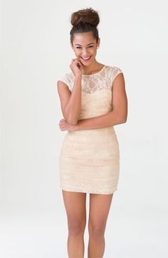 en creme lace illusion dress and the bun Pretty Dresses, Beautiful Dresses, Look Fashion, Fashion Outfits, Fashion Blogs, Fasion, Casual Dresses, Short Dresses, Bride Dresses