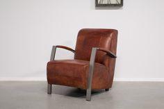 Fauteuil Leer rechthoekig gestikt - Vintage leder met industrieel metaal - Art…