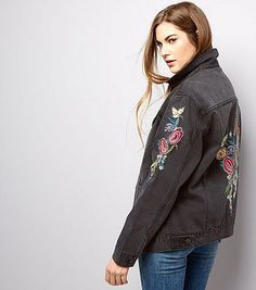 www.wannabesuburbanrockstar.com  Black Bird Embroidered Denim Jacket - New Look