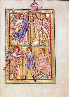 Saint Louis Psalter 9 recto 1190-1200,Parchment,245x177 mm.),University Library,Leiden, Netherlands,Illuminated manuscript, psalter. Adam and Eve expelled from paradise (above) and Adam and Eve forced to labour (below)