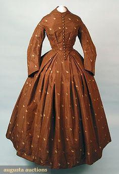 Augusta Auctions, March/April 2005 Vintage Clothing & Textile Auction, Lot 583: Figured Silk Day Dress, 1858-1862