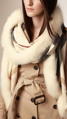 Burberry Fur Trim Cashmere Check Scarf   Ivory Check   A made-in-Italy check scarf in a blend of cashmere, silk and wool with a fox fur trim.   $1,150