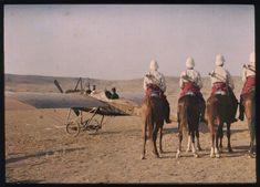 Oujda : Aérodrome militaire (Maroc) 1913, Jules Gervais-Courtellemont, autochrome 9x12cm