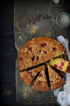 ... raspberries & banana cake ...