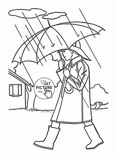 Boy In The Rain Spring Coloring Page For Kids Seasons Pages Printables Free