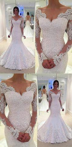 elegant mermaid wedding dresses with sleeves, v neck wedding dresses with appliques, dream bridal dresses with sleeves #wedding #weddingdress #mermaidweddingdresses