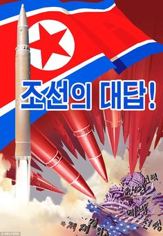 Propaganda: This poster, released by North Korean state media, shows bombs destroying a U.S. flag and the Capitol Building