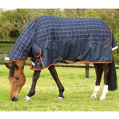 a0ef60d8aa7081 Mark Todd 250g Navy/Orange/Beige Plaid Combo Turnout Rug Horse Rugs, Horse