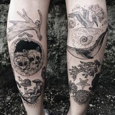 """ponyreinhardt: """" Forest vs ocean calves: raccoons, moose antler, maple key, mushrooms  And pelican, spiral shell, blue whale, leafy sea dragon, and coral. By Pony Reinhardt ofTenderfoot Studio in..."""