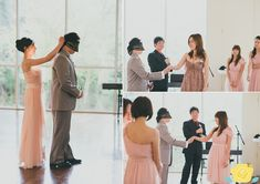 Wedding reception games. Can the groom correctly guess which hand is his bride's?