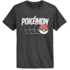 New World Men's Pokemon Poke Ball Graphic-Print T-Shirt (2.835 HUF) via Polyvore featuring men's fashion, men's clothing, men's shirts, men's t-shirts, charcoal heather, j crew mens shirts, mens graphic t shirts, mens t shirts and mens crew neck t shirts