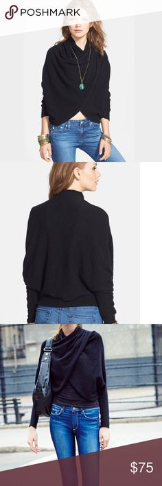 """Free People """"Sugar"""" Faux Wrap Sweater ✨NWT✨ Super soft and cozy black pullover sweater, which looks like a wrap.  Looks great with jeans or slacks.  No Trades❗️Make me a REASONABLE offer or put together a bundle  Free People Sweaters"""