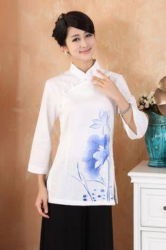 Traditional Chinese top - Classic Chinese Cheongsam top: Zen Lotus in White $59.99 (45,20 €)
