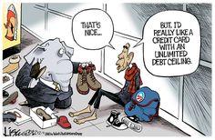 Living beyond his means. Lisa Benson on GoComics.com #Obama #Politics #Debt #GCConserv