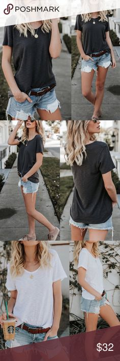 """GLAM // LOUNGE Charcoal V-Neck Tee Our v-neck tee is back in our favorite cotton/ modal blend! So breathable and easy to wear! We even like to style our Citizen Cotton V-Neck Tee in an oversized fit so you can tuck it in the front and wear with a lacey bralette! This tee is also perfect for layering for Spring!   V-Neck // Not Lined // Size Extra Small: 26"""" from shoulder to hem  50% Modal and 50% Cotton // Model is 5'7"""" and wears a Small Also available in White & Black Glamvault Tops Tees…"""