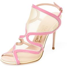 Salvatore Ferragamo Women's Zig Zag Net Sandal - Pink, Size 6 ($520) ❤ liked on Polyvore featuring shoes, sandals, pink, heeled sandals, salvatore ferragamo sandals, pink shoes, ankle tie sandals and ankle wrap sandals