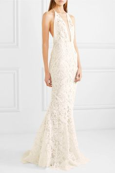 Galvan | Positano tulle-paneled lace gown