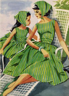 my mom used to sew our dresses and we looked JUST like this! Love you Mom