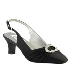 """Dyeables Ann Shoe Black Satin $73.99  Simple elegance. The black satin Ann shoe is highlighted by a round rhinestone clasp around the toe. This 2"""" slingback is perfect for all members of the bridal party, formals, evening wear and proms. Available in medium and wide widths up to size 12, non-dyeable in black."""