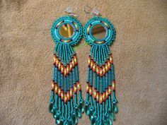 Teal rosette mirror cabachon earrings by DebsVisions on Etsy, $30.00
