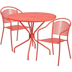 Flash Furniture Round Coral Indoor-Outdoor Steel Patio Table Set with 2 Round Back Chairs, Orange Outdoor Dining Set, Patio Dining, Patio Table, Patio Chairs, Indoor Outdoor, Metal Patio Furniture, Fine Furniture, Outdoor Furniture Sets, Furniture Ideas