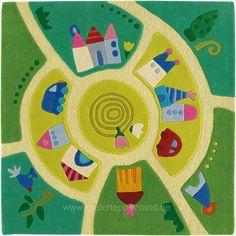 Inspirational Wundersch ner handgetufteter Teppich mit einer kleinen Stadt als Motiv L dt zu Spiel und Spa ein und ist ein dekoratives Accessoire f r das Kinderzimmer