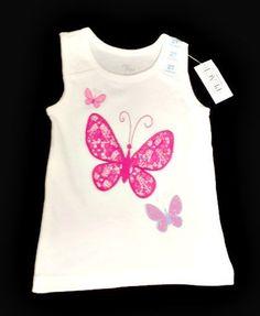 Children's Place Girls Glitter Lace Butterflies Milk Tank Top TCP Sleeveless New #TheChildrensPlace #Everyday