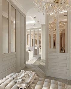 Master CLOSET on Behance Dream Home Design, Home Interior Design, House Design, Dressing Room Design, Bedroom Closet Design, Boho Home, Luxury Homes Dream Houses, Dream Rooms, Luxurious Bedrooms