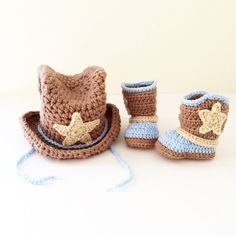 Crochet cowboy hat and boots set for baby boy / by LovinglyNie