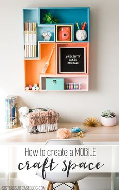 Simple ideas for creating a multipurpose craft space in your home! : Simple ideas for creating a multipurpose craft space in your home! Space Crafts, Craft Space, Craft Rooms, Diy Interior, Craft Organization, Craft Storage, Mobile Craft, Suitcase Packing, Budget