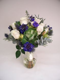 Blue and white wedding flowers are very popular for us
