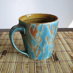 Coffee Cup - Salt Fired Pottery Mug with Blue