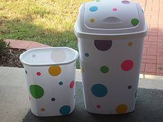 turn plain trash cans into these with sheets of duct tape, use die cut machine to cut circles or whatever pattern you wish and wa-lah! ( love the idea of duct tape sheets and the die cut machine or cricut!