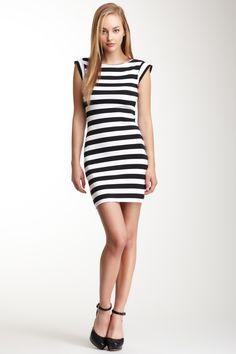 Stripe Cap Sleeve Dress