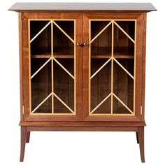 Contemporary Walnut Cabinet With Glass Doors And Butternut Details Woodworking Mallet, Rockler Woodworking, Fine Woodworking, Book Cabinet, Glass Cabinet Doors, Glass Doors, Small Woodworking Projects, Woodworking Furniture, Wood Furniture