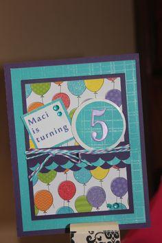 My homemade card for my BIG 5 year old Maci!