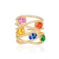 Effy Watercolors 14K Yellow Gold Multi Sapphire and Diamond Ring, 3.50 TCW