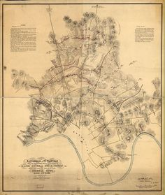 Battlefields in front of Nashville where the United States forces commanded by Major General Geo. H. Thomas defeated and routed the Rebel army under General Hood, December 15th & 16th, 1864 Surveyed and drawn under the direction of: Gen. Tower, by M. Peseux. C. S. Mergell, auth. Printed at Topl. Engr. Office, Dept. Cumbd., Chattanooga.