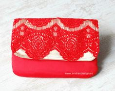 Unique Red Lace Clutch - elegant and chic, for cocktail parties and festive events.