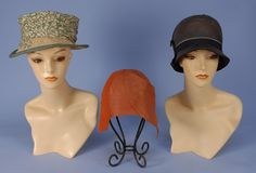 """THREE STRAW HATS, 1920's. One """"Liberty"""" natural straw with printed silk band in green and cream. Two cloches: One orange with felt panel and bow (breaks to straw and mends). One brown with tucks and ribbon band. Fair-excellent. MMA. $360."""