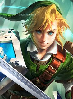 Link - legend of Zelda art by sakimichan