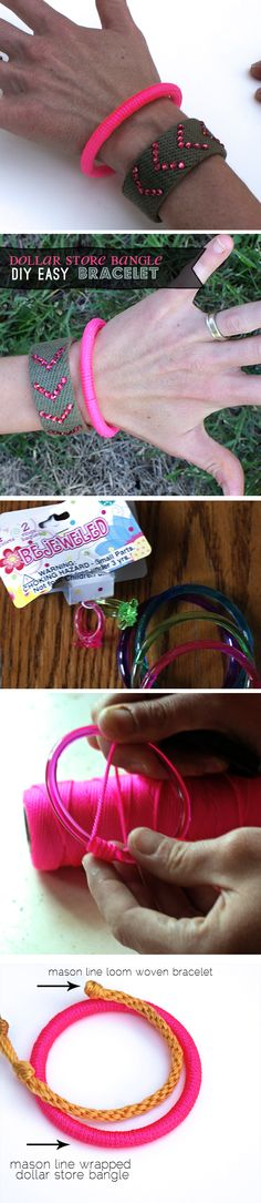 Dollar store bangle bracelet #neon #DIY #jewelry #crafts at savedbylovecreations.com