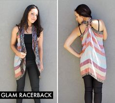 how to make a racerback vest out of a big pashmina scarf just with a knot